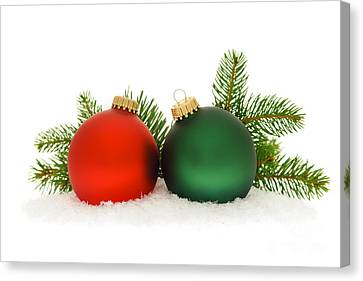 Red And Green Christmas Baubles Canvas Print by Elena Elisseeva