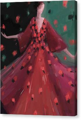 Red And Orange Petal Dress Fashion Art Canvas Print by Beverly Brown