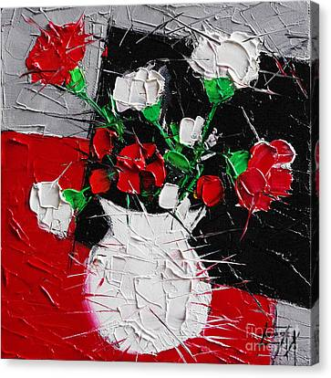 Red And White Carnations Canvas Print by Mona Edulesco