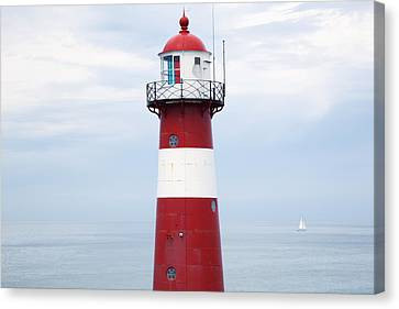 Red And White Lighthouse Canvas Print by Peter Zoeller