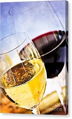 Red And White Wine Canvas Print by Elena Elisseeva