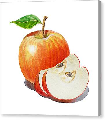Red Apple With Slices Canvas Print by Irina Sztukowski