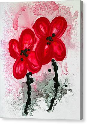 Red Asian Poppies Canvas Print by Sharon Cummings