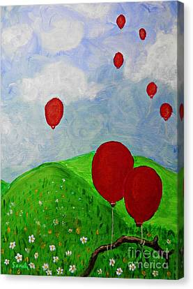 Red Balloons Canvas Print by Sarah Loft