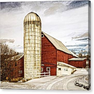 Red Barn And Silo Vermont Canvas Print by Edward Fielding