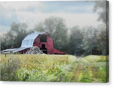 Red Barn In The Fog Canvas Print by Jai Johnson