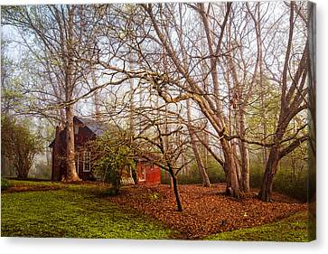 Red Barn In The Smokies Canvas Print by Debra and Dave Vanderlaan