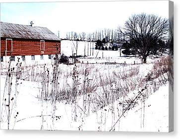 Red Barn In Winter Canvas Print by Gemblue Photography