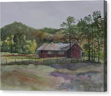 Red Barn Canvas Print by Janet Felts
