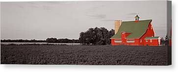 Red Barn, Kankakee, Illinois, Usa Canvas Print by Panoramic Images