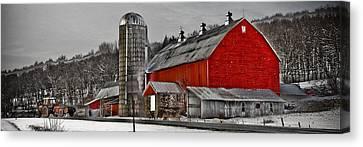 Red Barn No. 1 Canvas Print by Patsy Zedar