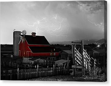 Red Barn On The Farm And Lightning Thunderstorm Bwsc Canvas Print by James BO  Insogna
