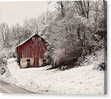 red barn West Virginia Canvas Print by Chris Flees