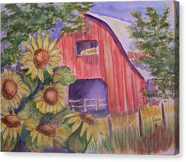Red Barn With Sunflowers Canvas Print by Belinda Lawson