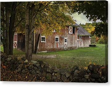 Red Barns And Stone Fences-new England Traditions Canvas Print by Thomas Schoeller