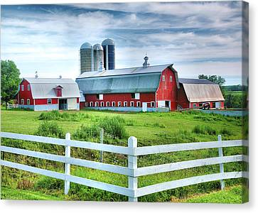 Red Barns And White Fence Canvas Print by Steven Ainsworth