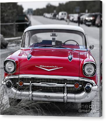 Red 57 Chevy Belair At The Beach Square Canvas Print by Edward Fielding
