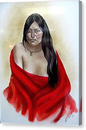 Red Blanket Canvas Print by Karen Roncari
