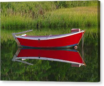 Red Boat Canvas Print by Juergen Roth