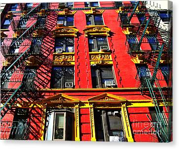 Red Building With Fire Escapes Canvas Print by Nishanth Gopinathan