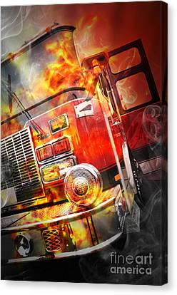 Red Burning Fire Rescue Truck With Flames Canvas Print by Angela Waye