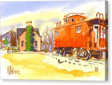 Red Caboose At Whistle Junction Ironton Missouri Canvas Print by Kip DeVore