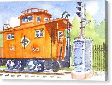 Red Caboose With Signal  Canvas Print by Kip DeVore