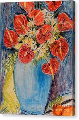 Red Calla Lilies Canvas Print by Caroline Street