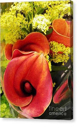 Red Callas Canvas Print by Sarah Loft