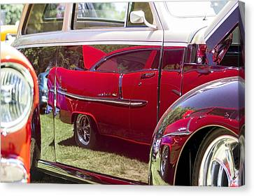 Red Chevy Bel Air Reflection Canvas Print by Studio Janney