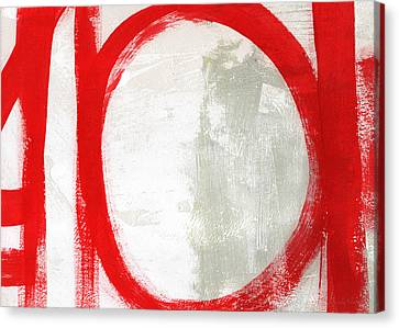 Red Circle 3- Abstract Painting Canvas Print by Linda Woods