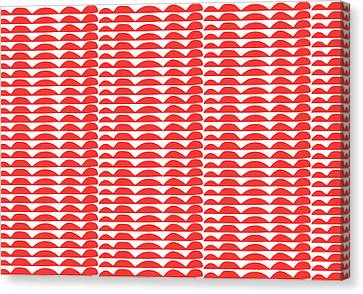 Red Cut Outs- Abstract Pattern Art Canvas Print by Linda Woods