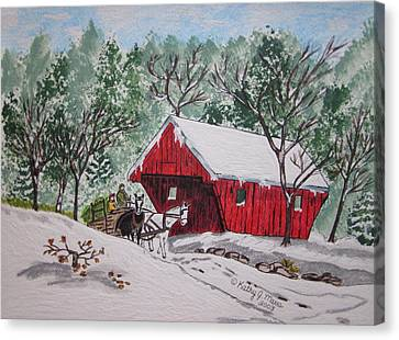Red Covered Bridge Christmas Canvas Print by Kathy Marrs Chandler