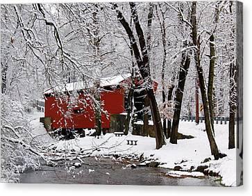 Red Covered Bridge Winter 2013 Canvas Print by Deborah  Crew-Johnson