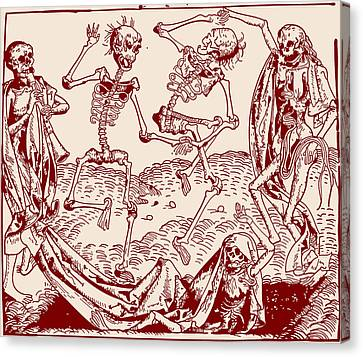 Red Dance Macabre Canvas Print by