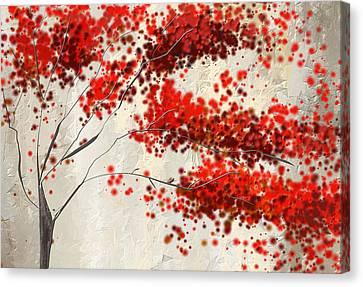 Red Divine- Autumn Impressionist Canvas Print by Lourry Legarde