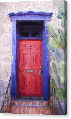 Red Door 317 Tucson Barrio Painterly Effect Canvas Print by Carol Leigh