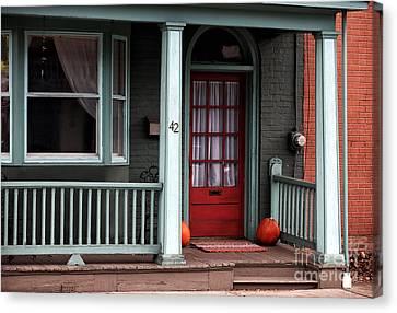 Red Door In Lambertville Canvas Print by John Rizzuto