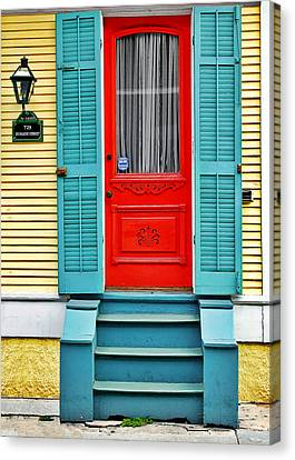 Red Door In New Orleans Canvas Print by Christine Till