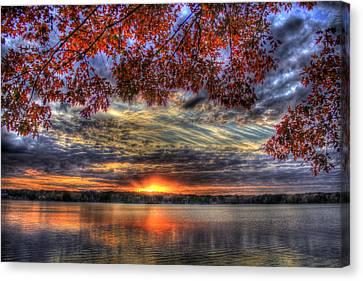 Red Fall Leaves Sunset Lake Oconee Canvas Print by Reid Callaway