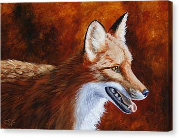 Red Fox - A Warm Day Canvas Print by Crista Forest