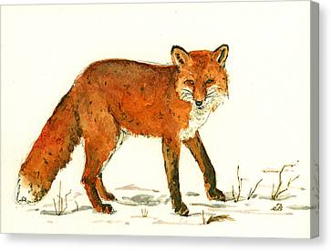 Red Fox In The Snow Canvas Print by Juan  Bosco