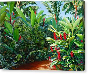 Red Garden Hawaiian Torch Ginger Canvas Print by Karen Whitworth