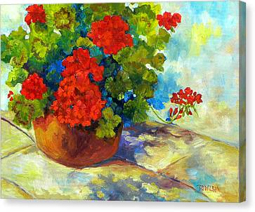 Red Geraniums I Canvas Print by Peggy Wilson