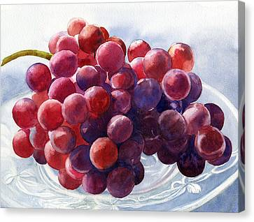 Red Grapes On A Plate Canvas Print by Sharon Freeman