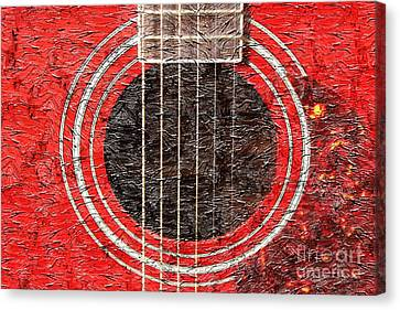 Red Guitar - Digital Painting - Music Canvas Print by Barbara Griffin