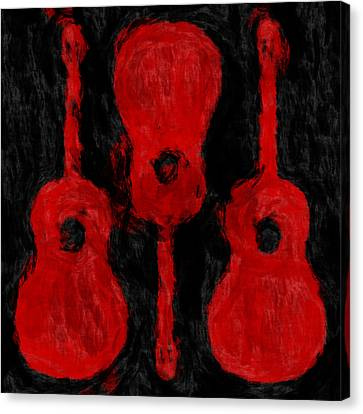 Red Guitars Canvas Print by David G Paul