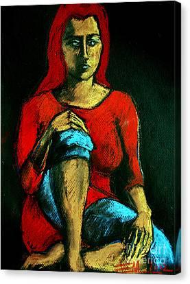 Red Hair Woman Canvas Print by Mona Edulesco
