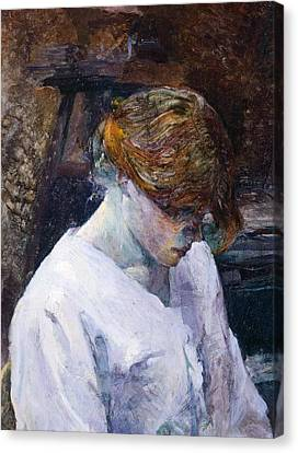 Red-haired Woman In White Camisole Canvas Print by Henri de Toulouse Lautrec