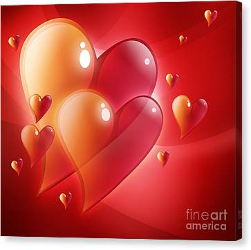Red Hearts In Love Canvas Print by Angela Waye